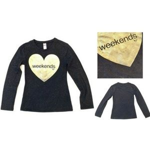 JUSTICE Girls Long Sleeve Sparkly Shirt Black Gold
